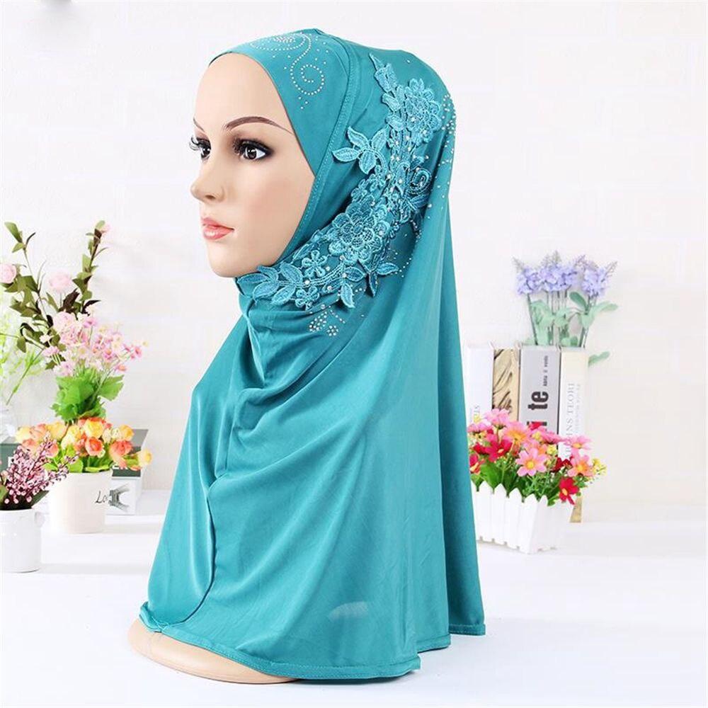 New Muslim Rhinestone Flower Lace Scarf Islamic Hijab Full Cover Cap Headscarf