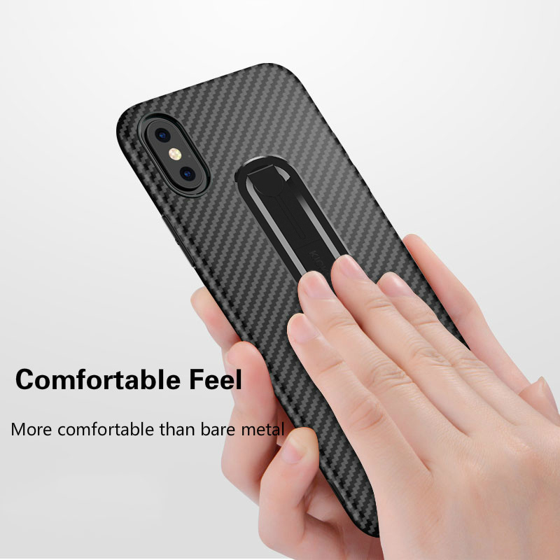 Carbon Fiber Ring Stand Case For iPhone 7 8 6 6s Plus Luxury Shockproof Soft Silicone Cover For iPhone X XR XS MAX Phone Shell in Fitted Cases from Cellphones Telecommunications