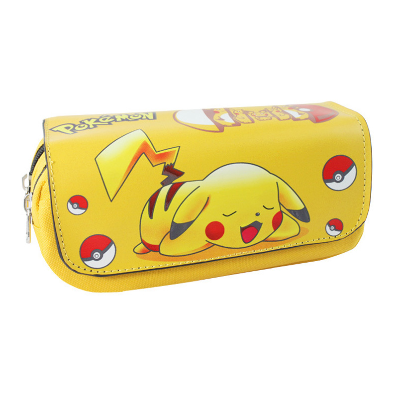 Pocket Monster Wallet Picacho Pen Animation Large Capacity Zipper Pencil Bags Stationery ...