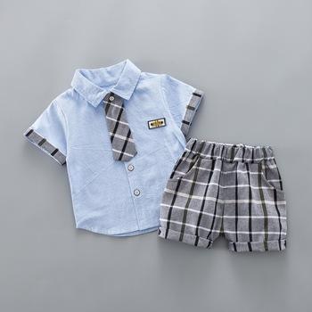 Zestawy ubrań dla chłopców lato mody malucha t shirt + krótkie spodnie 2 sztuk dresy dla chłopców bebe noworodka dla dzieci ubrania bawełniane zestawy tanie i dobre opinie BibiCola Elastan Bawełna Moda Regularne Skręcić w dół kołnierz Boys baby Pasuje prawda na wymiar weź swój normalny rozmiar