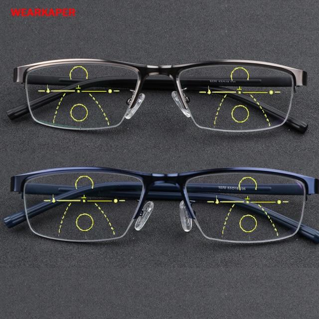 ee15ae8a01d WEARKAPER Retro Eyewear Ultra-light Asymptotically Progressive Reading  Glasses Men Women Presbyopia Hyperopia Multifocal Glasse