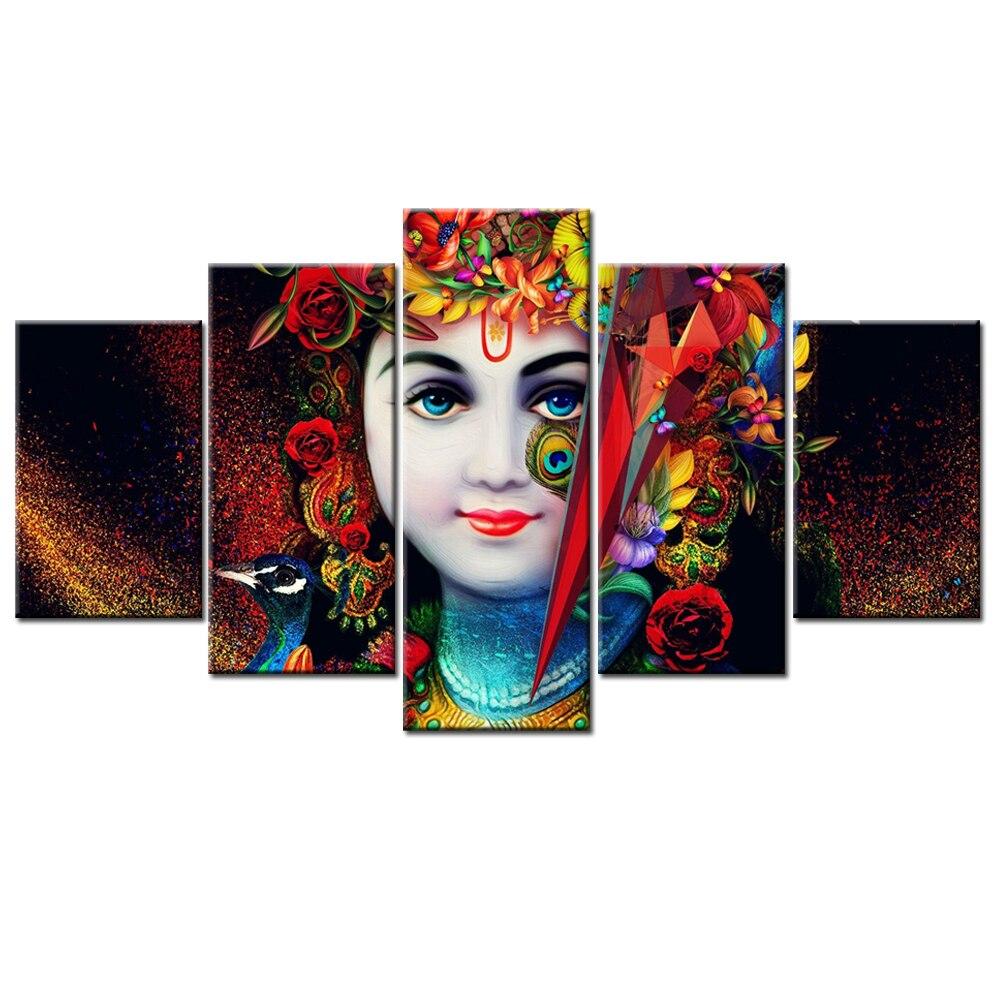 Hindu Poster Art: 5 Panels Radha Krishna Wall Art Posters And Prints Hindu