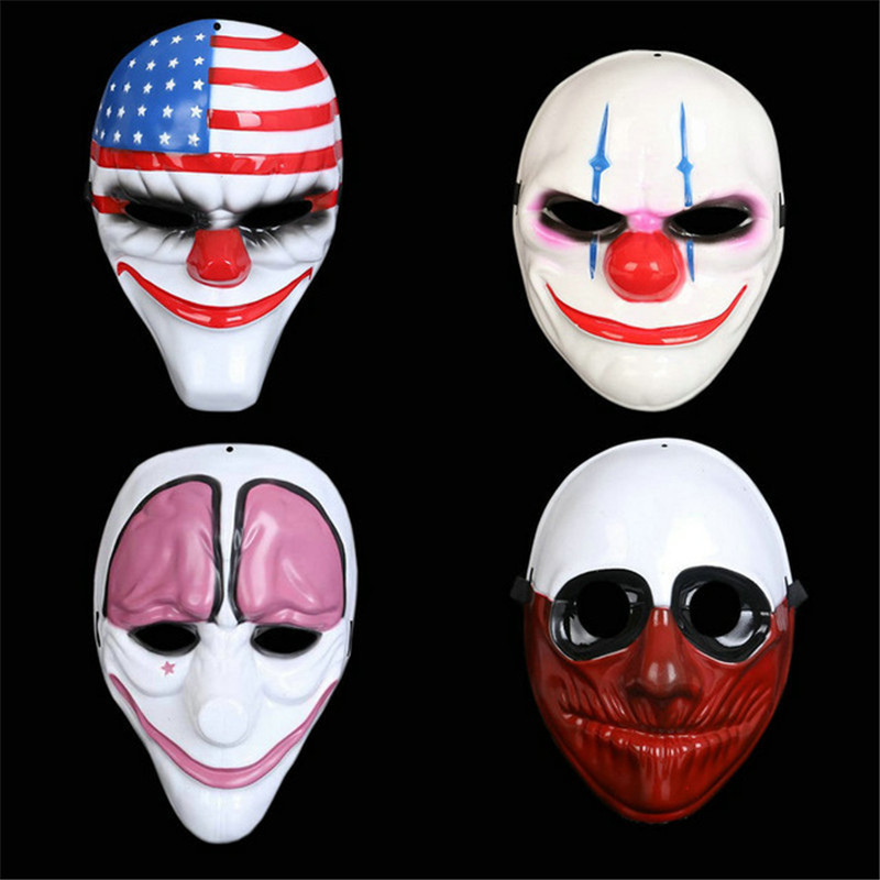 Halloween Horror Party Mask Payday 2 Mask Newest Topic Game Series Plastic Clown Flag Red Masquerade Masks Party Supplies image