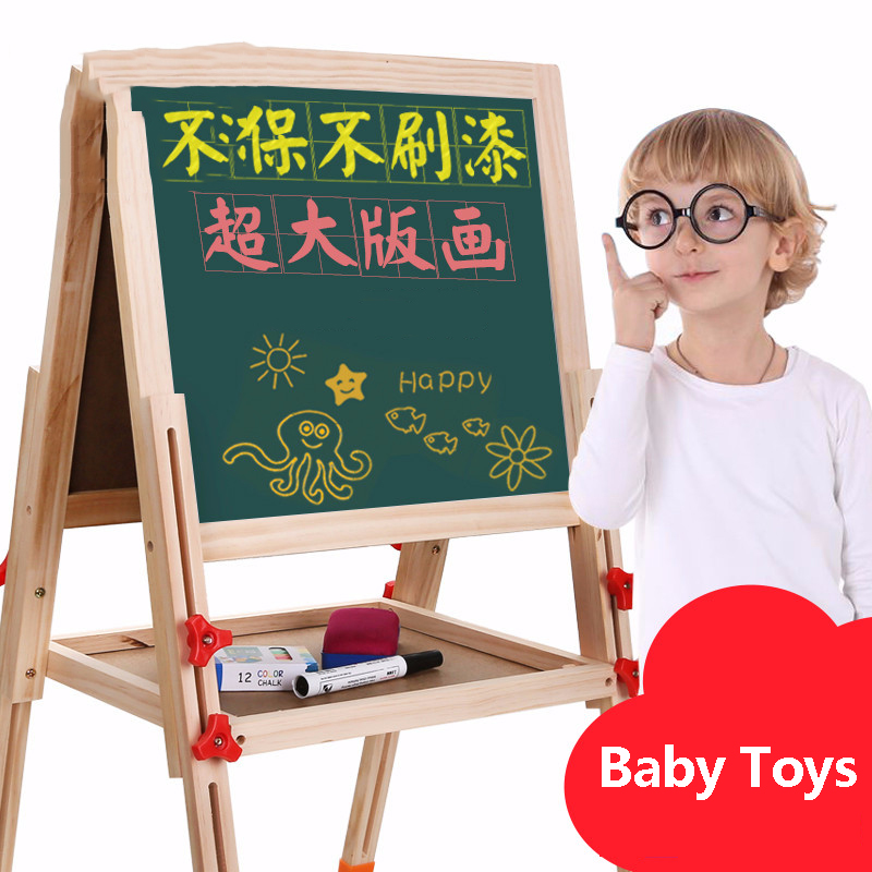 Children Drawing Board Double-sided Magnetic Small Blackboard Raised Lowered Easel Bracket Home Painting Graffiti Writing Board цена