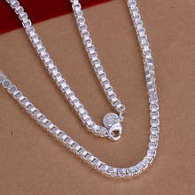 925 Silver necklace for men, box  chain men necklace, mens jewelry, free shipping, promotion sale