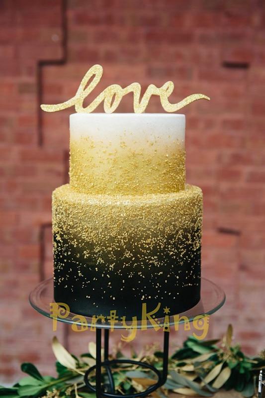 Free Shipping Bling Bling Gold Love Wedding Cake Topper For Cake