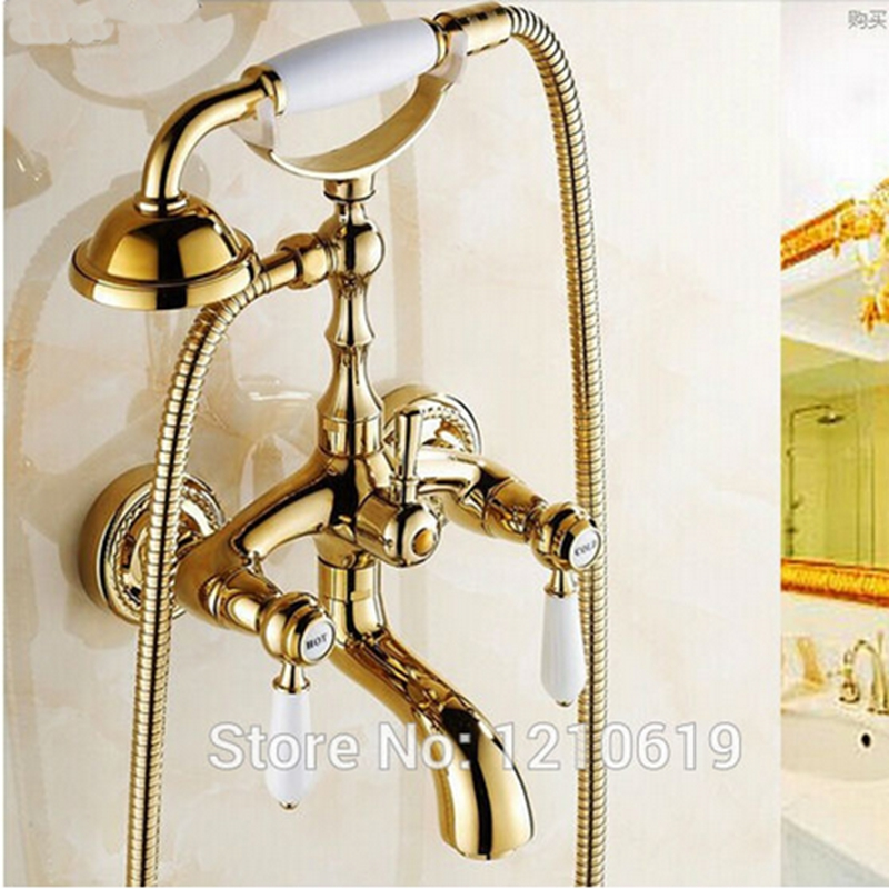 Newly US Free Shipping Wholesale And Retail Classic Golden Polish Bathtub Faucet Mixer Tap Dual Ceramics Handles W/ Spary Shower 2017 free shipping hot retail