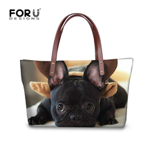 FORUDESIGNS Funny french bulldog women handbags casual large womens shoulder bag famous brand top-handle high quality tote purse