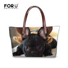 FORUDESIGNS Funny french bulldog women handbags casual large womens shoulder bag