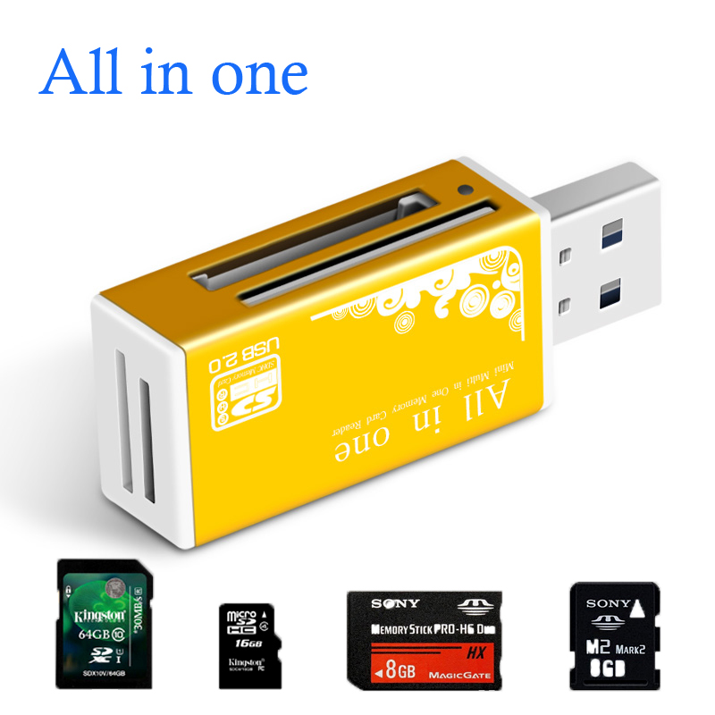 Smart All In One Card Reader Multi In 1 Card Reader SD/SDHC,MMC/RS MMC,TF/MicroSD,MS/MS PRO/MS DUO,M2 Card Reader Wholesale TF
