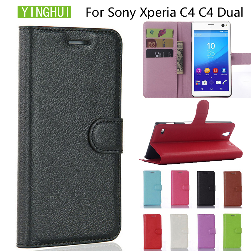 YINGHUI Phone Case For Sony Xperia C4 E5333 E5306 Cover Wallet PU Leather Case Flip Cover phone Case For Sony Xperia C4 Dual