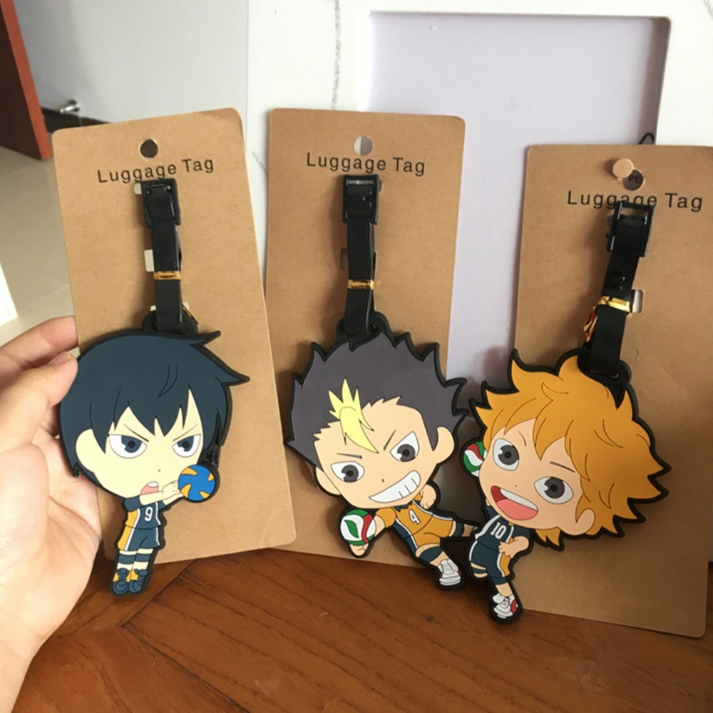 Haikyuu Cartoon PVC Cosplay Keychain Creative Soft Rubber Luggage Tag  Boarding Pass Bag Tags Hanging Ornaments Bags Accessories