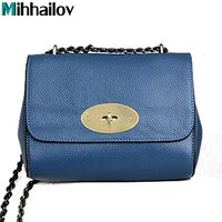 100 Real Genuine Leather Women Bags Lily O Word Chain One Shoulder Small Bag Women Messenger