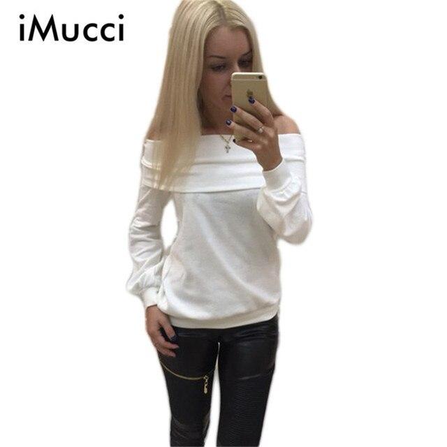 Autumn New Fashion Slash Neck Womens Long Sleeve Tops Off Shoulder Pullovers Solid Cotton Tshirt Women Elegant Tops for Women
