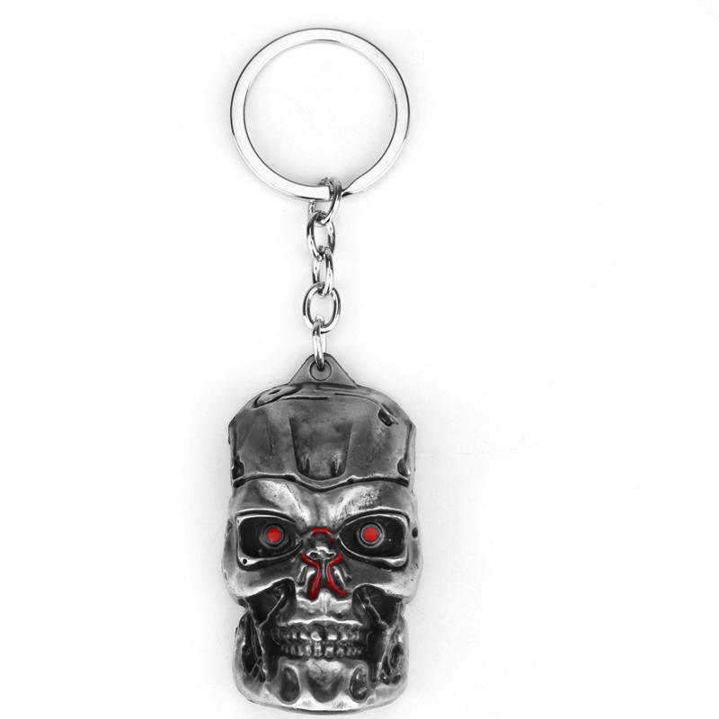RJ Fashion War Game Terminator Logo Keychains High Quality Metal Terminator Mask Keyring Pendant For Men And Women