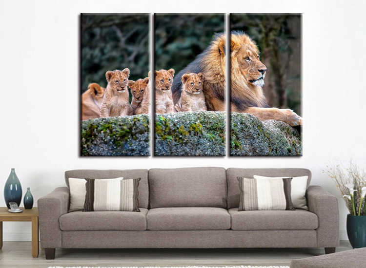 3 pieces / set Animal Painting Lion King Posters Wall Art and Prints Home Decor Canvas Pictures for Living Room