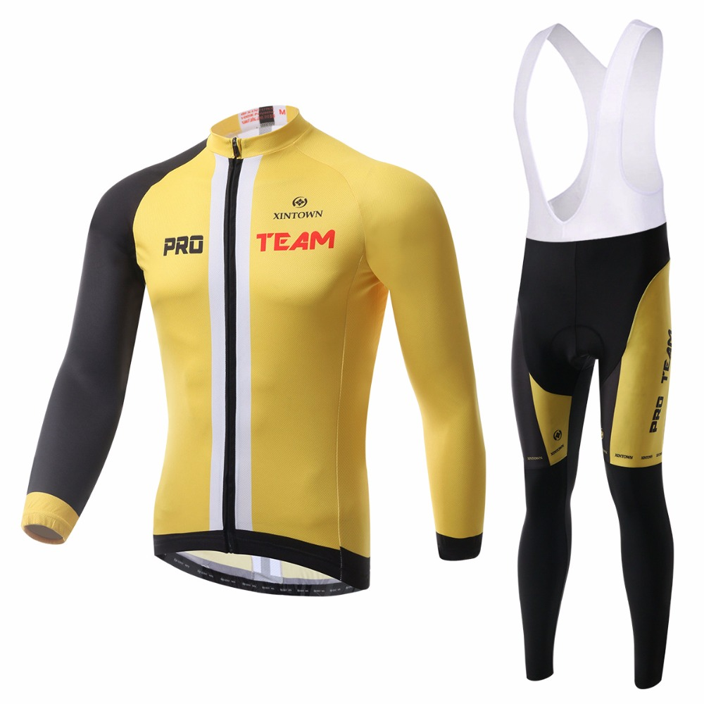 XINTOWN Cheap Cycling Clothing 2017 Pro Team MTB Bicycle Suit Yellow Long Sleeve Bike Jersey and Bib Pants Set Men's Sportswear 2017 free shipping smart wall switch crystal glass panel switch us 2 gang remote control touch switch wall light switch for led