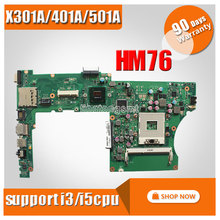 for ASUS X301A X401A X501A laptop motherboard support CPU i3/i5 processor PGA989 HM76 100% Tested Mainboard