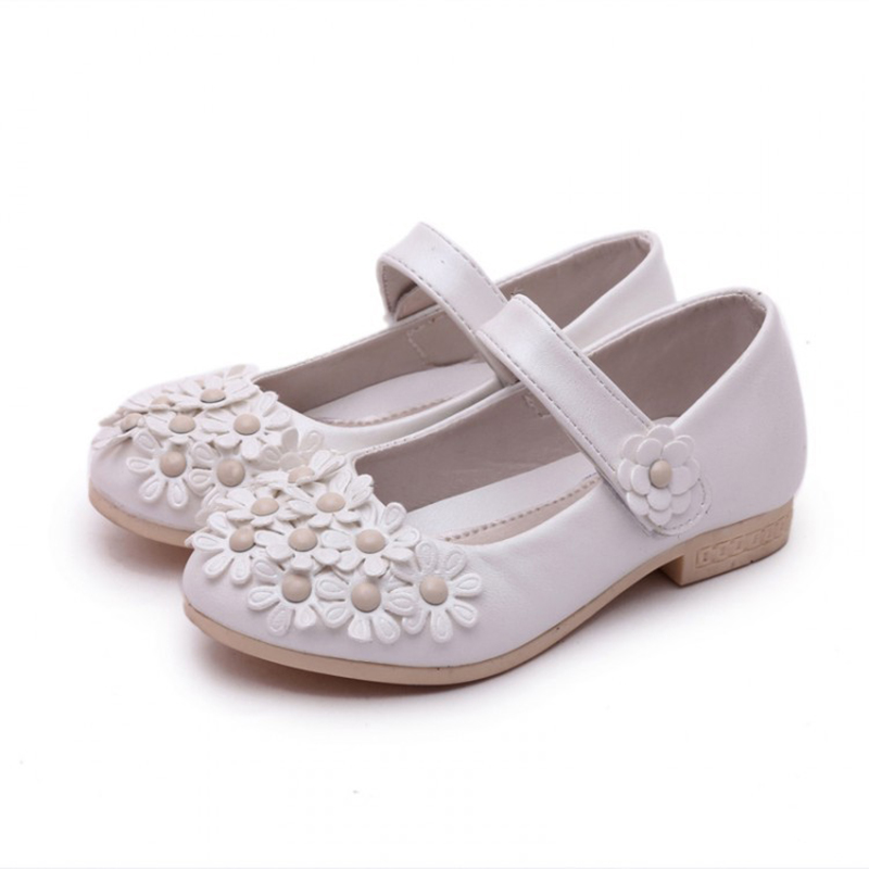 2016 Girls White Pink Flowers Shoes Children All Match Leather Shoes Kids  High Heels Antiskid Party&Wedding - Online Get Cheap High Heel Shoes Kids -Aliexpress.com Alibaba Group