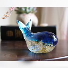 Modern Glass whale Blue Colored glaze Crystal Tropical Fish Sculpture Crafts  Miniature figurines Gift wedding home decoration