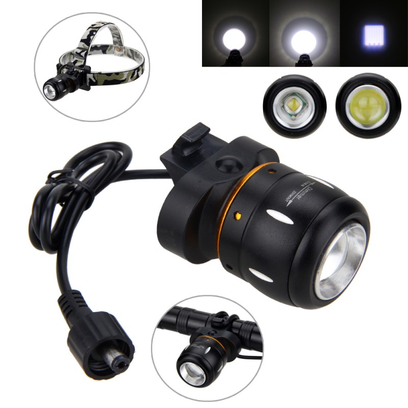 2 em 1 T6 Zoomable Ajustável Foco Bicicleta Farol 5000 Lm XM-L LED Luz Dianteira Da Bicicleta Da Lâmpada Farol + Bateria set + Luz Traseira