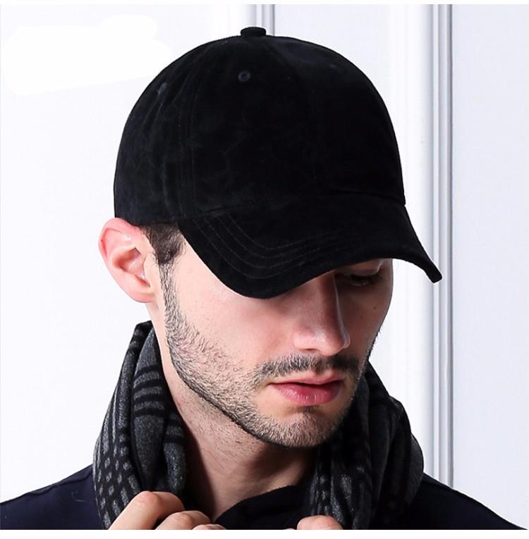Model Wearing the Black Soft Corduroy Baseball Cap