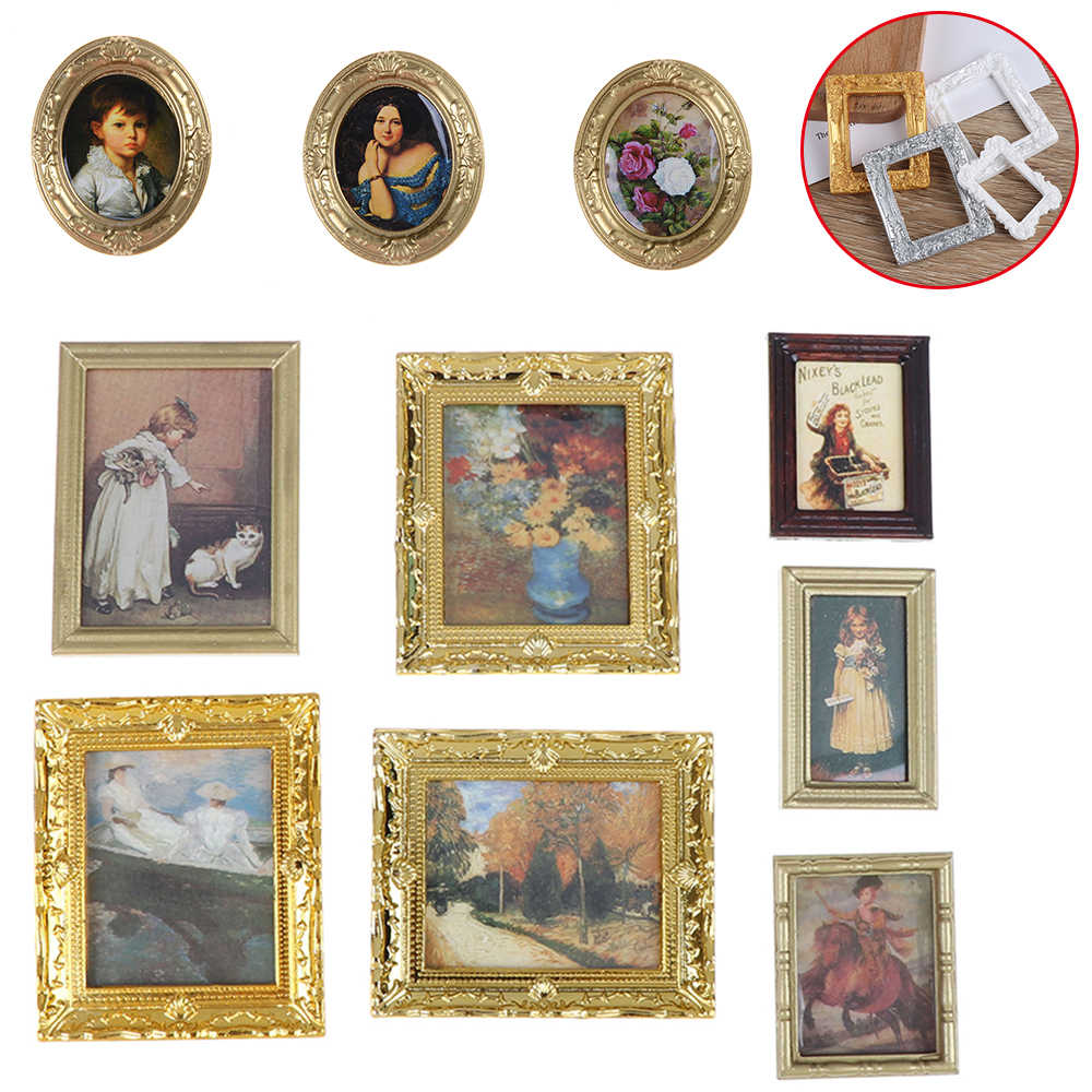 Dollhouse Miniature 1:12 Mini Decorative Accessories Antique Manny Frame Oil Painting Mona Lisa DIY Wooden Doll House