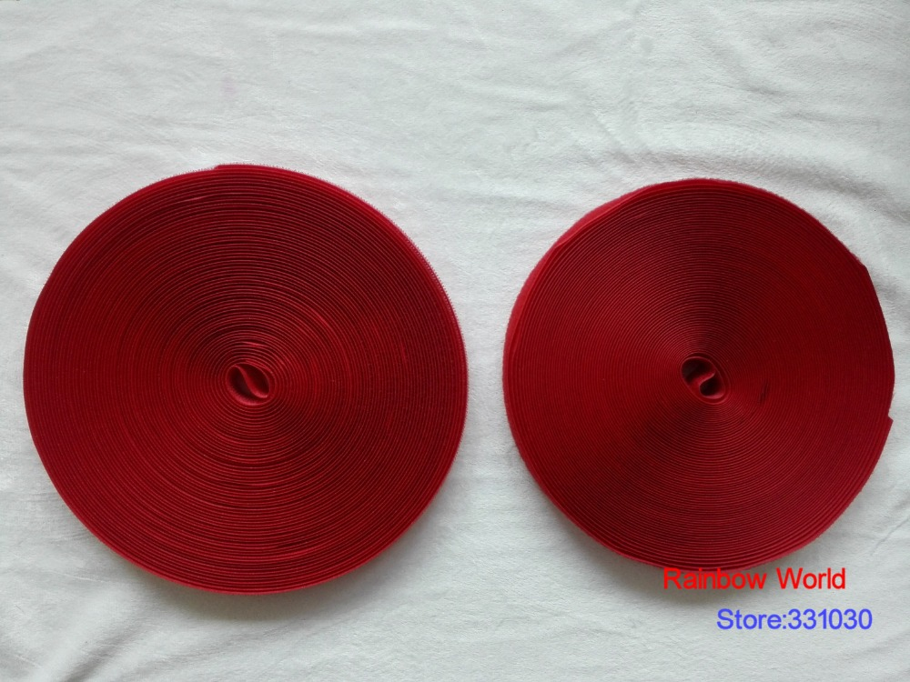 8# Red Fastener Magic Tape with Hook and Loop stick fabric bags garment clothes toys shoes 25meter/ roll,width 2cm
