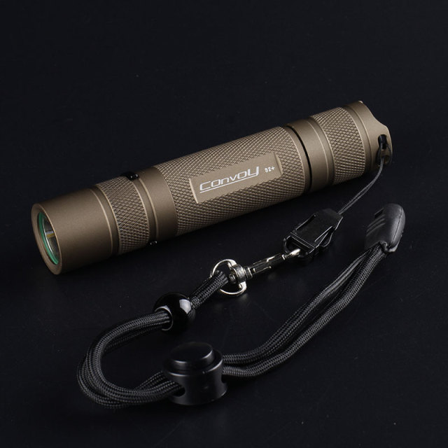 desert tan S2+ flashlight, with XPL HI led inside and ar-coated glass,biscotti firmware