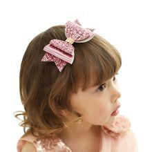 4Inch Boutique Glitter Läder Hair Bow 3 lager Bling Bowknot För Girls Unicorn Party Hairgrips Kids Bästa Gåva Hår Tillbehör
