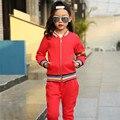 Calle de Moda Niña Ropa de Primavera 2017 Nueva Moda De Oro Edge Chicas Deportes Traje Chaqueta y Pantalones de Ropa de Adolescentes Niño