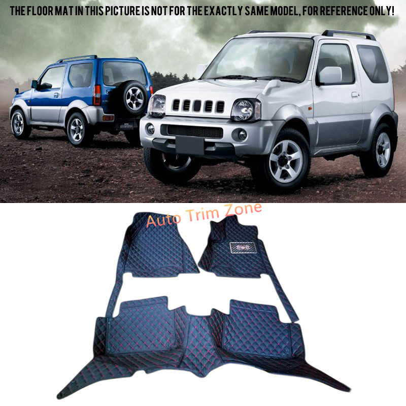 Interior Black Leather Floor Mats & Carpets For Suzuki Jimny 2000-2015 black interior leather floor mats