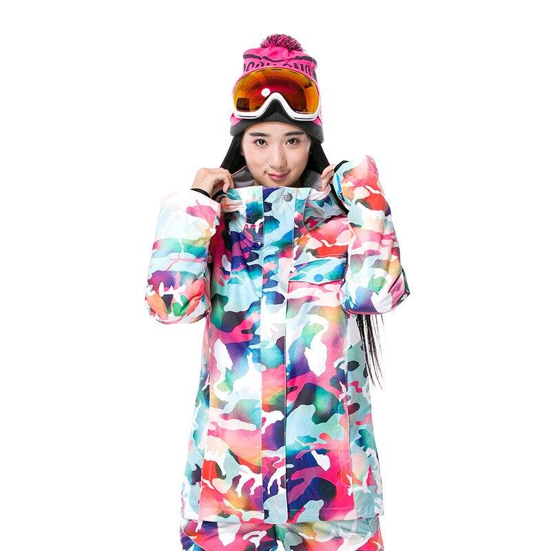 GSOU neige marque Camouflage hiver veste de Ski neige femme veste de Snowboard chaleur - 3
