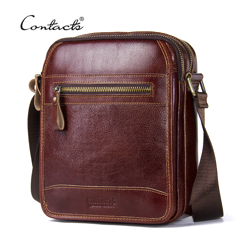 CONTACT'S Genuine Leather Men Messenger Bags Casual Vegetable Leather Crossbody Bag For Male High Quality Shoulder Travel Bag men crossbody bag messenger shoulder handbags cowhide genuine leather casual business satchel mens bags for male high quality