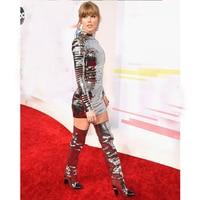 Swift Celebrity Mini Dress Women 2018 Silver Black Fashion Party Outfits Runway Sheath Glitter Taylor Metal Studded Short Dress