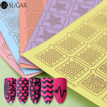 UR SUGAR 2 Patterns Adhesive Nail Vinyls Hollow Floral Watermarble Star Nail Art Stencil Transfer Stickers for Nail Polish Decor