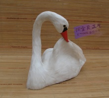 new white simulation swan toy plastic and feathers Swan props gift about 25x10x21cm