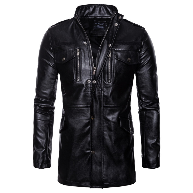 Men Long-term PU Leather Slim Jacket Casual Black Four-pocket Motorcycle Leather Jacket Coats For Male Nice Autumn Winter M-7XL