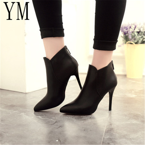 Fashion Patent leather PU Pointed Toe High Heel Boots Shoes Woman Zipper Ankle Boots Women Shoes Thin Heel Women Boots 35-39 Karachi