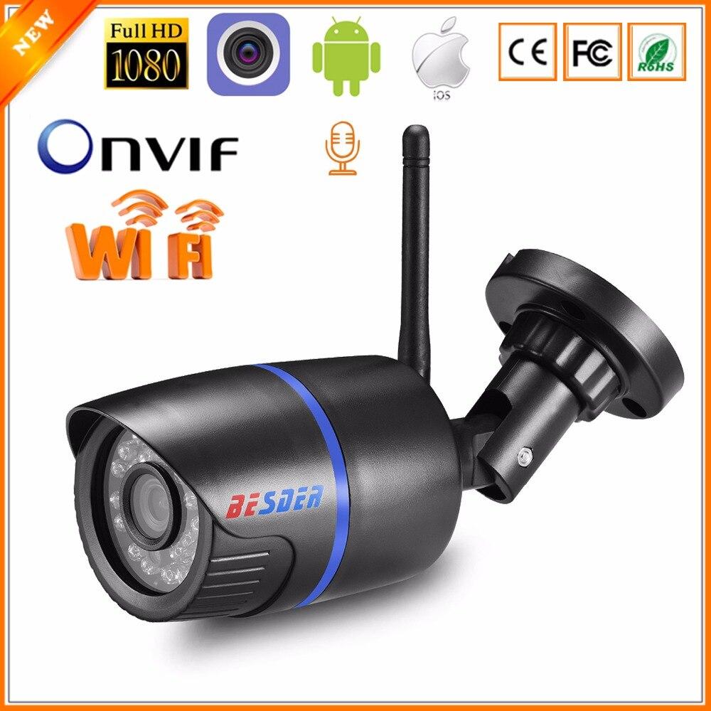 BESDER Audio 720P 1080P Wireless Ip CCTV Security Camera Black Waterptoof Onvif  Surveillance Camera With SD Card Slot CamHi P2P