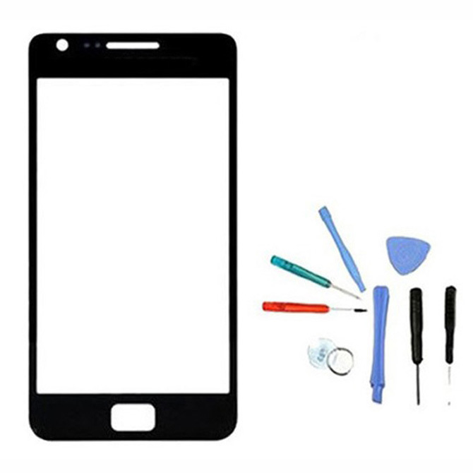 1 Piece Black Replacement Outer Front Screen Glass Lens Panel With Tool For Samsung Galaxy S2 i9100 HOT Sale
