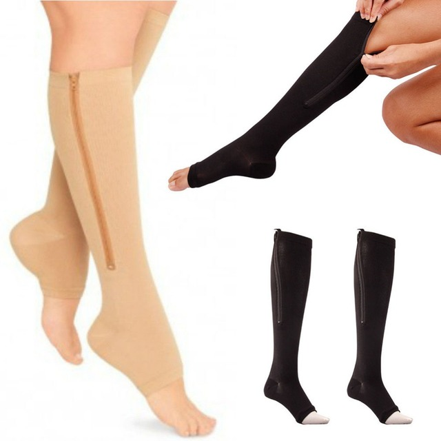 New Women Zipper Compression Socks Zip Leg Support Knee Sox Open Toe Sock S/M/XL Y1