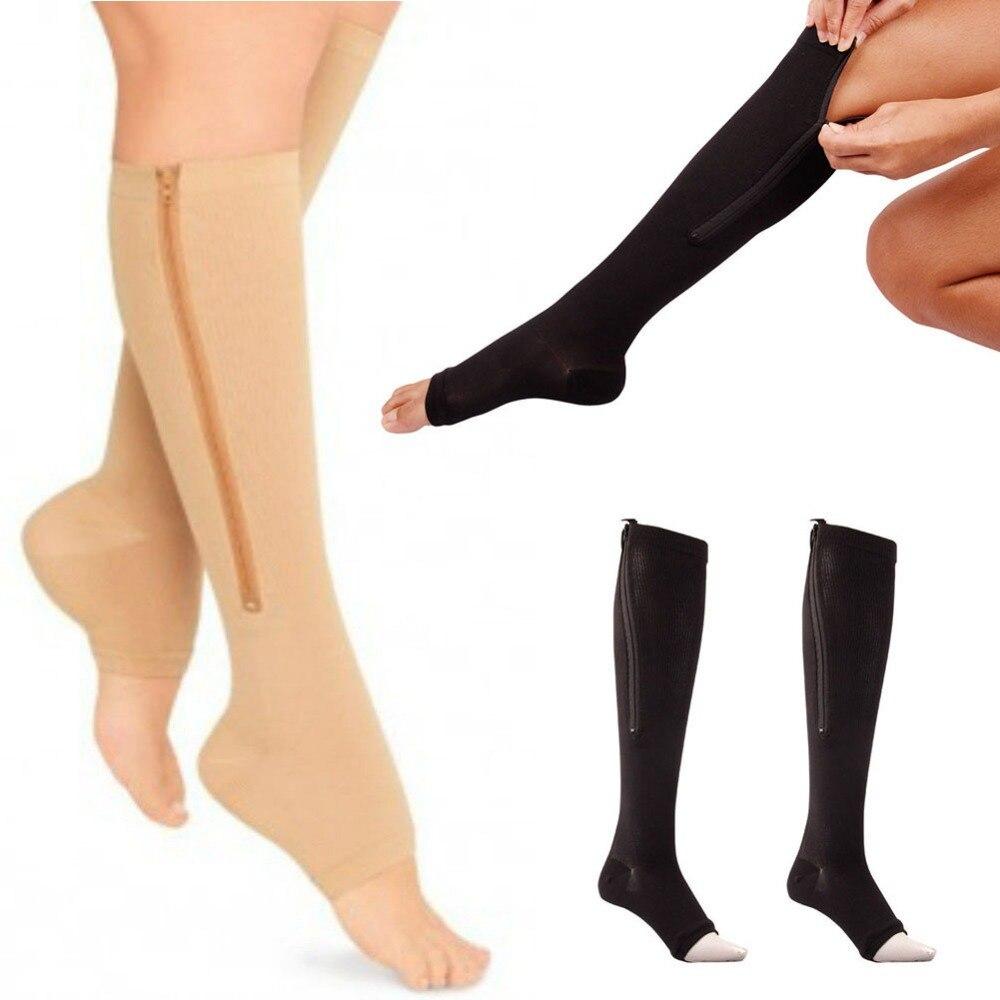 New Women Zipper Compression   Socks   Zip Leg Support Knee Sox Open Toe   Sock   S/M/XL Y1