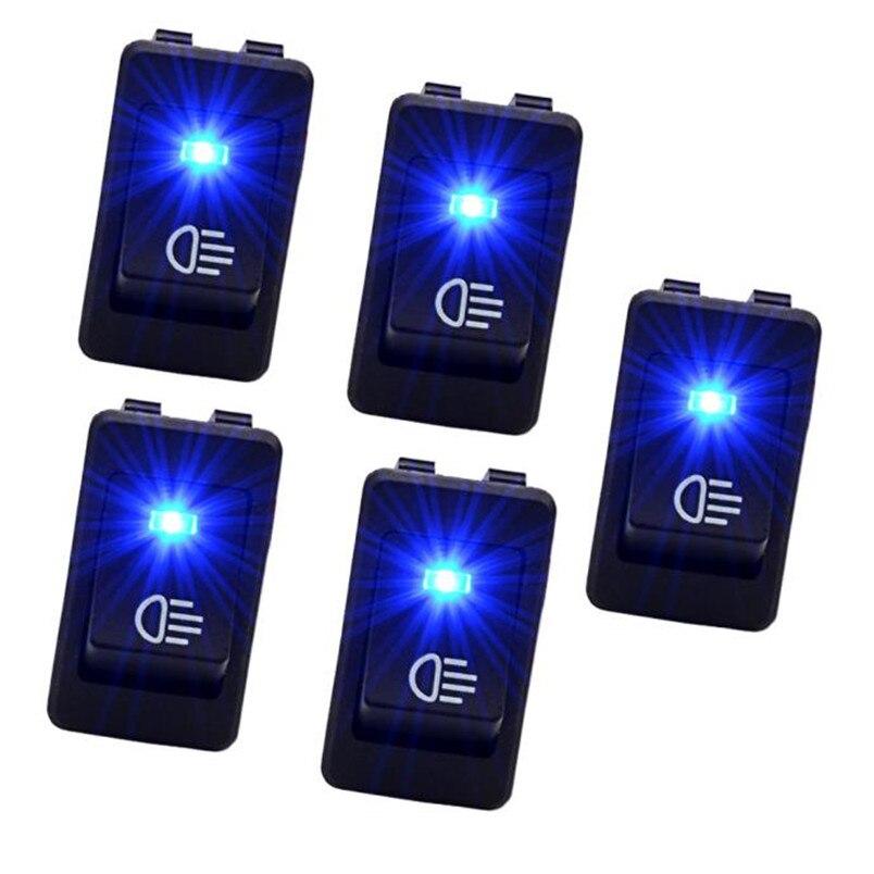 5 X 12v 35a Car Auto Fog Light Rocker Toggle Switch Blue Led Dashboard Sales P30 July5
