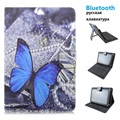 Bluetooth Russian keyboard Blue Butterfly PU Leather Material Stand Case Keyboard for 7-8 inch Tablet PC