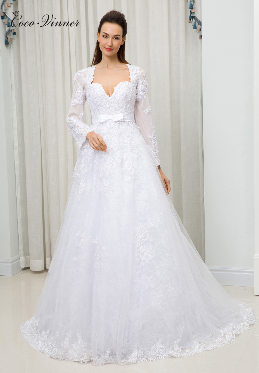 C.V New 2018 V neck Elegant A line Wedding Dress vestido-de-noiva Pearls Beads Lace Embroidery Plus Size Wedding Dresses W0112