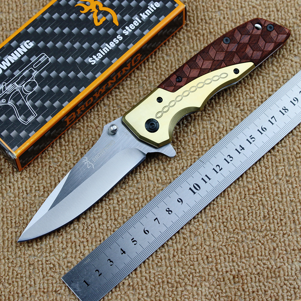 High quality Browning DA77 folding knife 5cr15mov blade + copper head handle outdoor camping hunting tactical knife EDC tool  цены