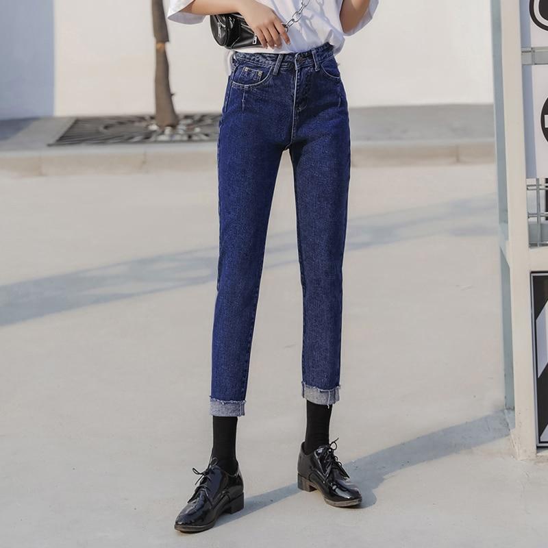 449685a11e0c6 Real-shot-Harajuku-2018-new-jeans-female-loose-high-waist -nine-pants-Korean-version-of-the.jpg