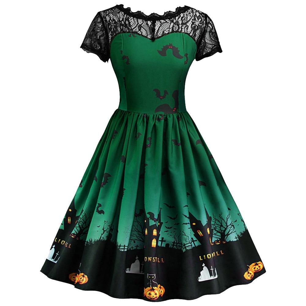 Women dress women short sleeve halloween retro lace vintage dress a line pumpkin swing dress plus size robe femme ete 2019#40