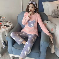 JINUO large size winter and autumn woman thick polar fleece pajamas super soft loose wait femme pyjamas sets cute nightgown